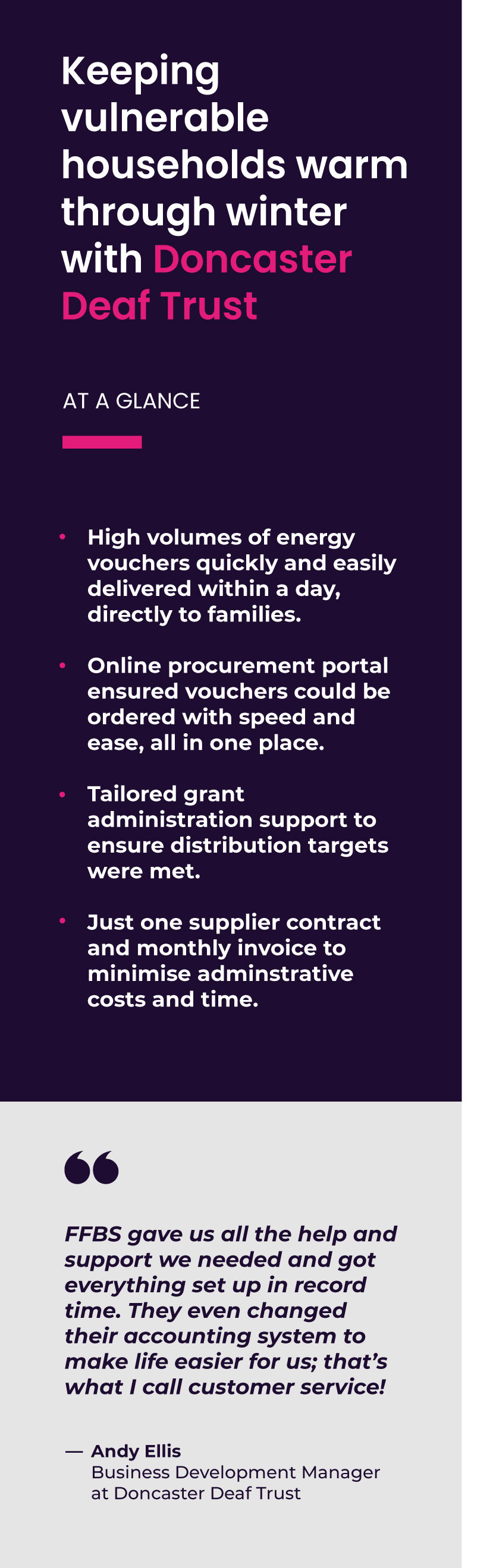 Making funding go further for Doncaster Council's Local Assistance Scheme Reduced budget pressures with supplier discounts, cash rebates and excellent support packages thanks to our purchasing power. Orders made online through our bespoke procurement portal, meaning just one supplier contract and one monthly invoice. Essential items delivered straight to where they're needed and installed quickly and efficiently.