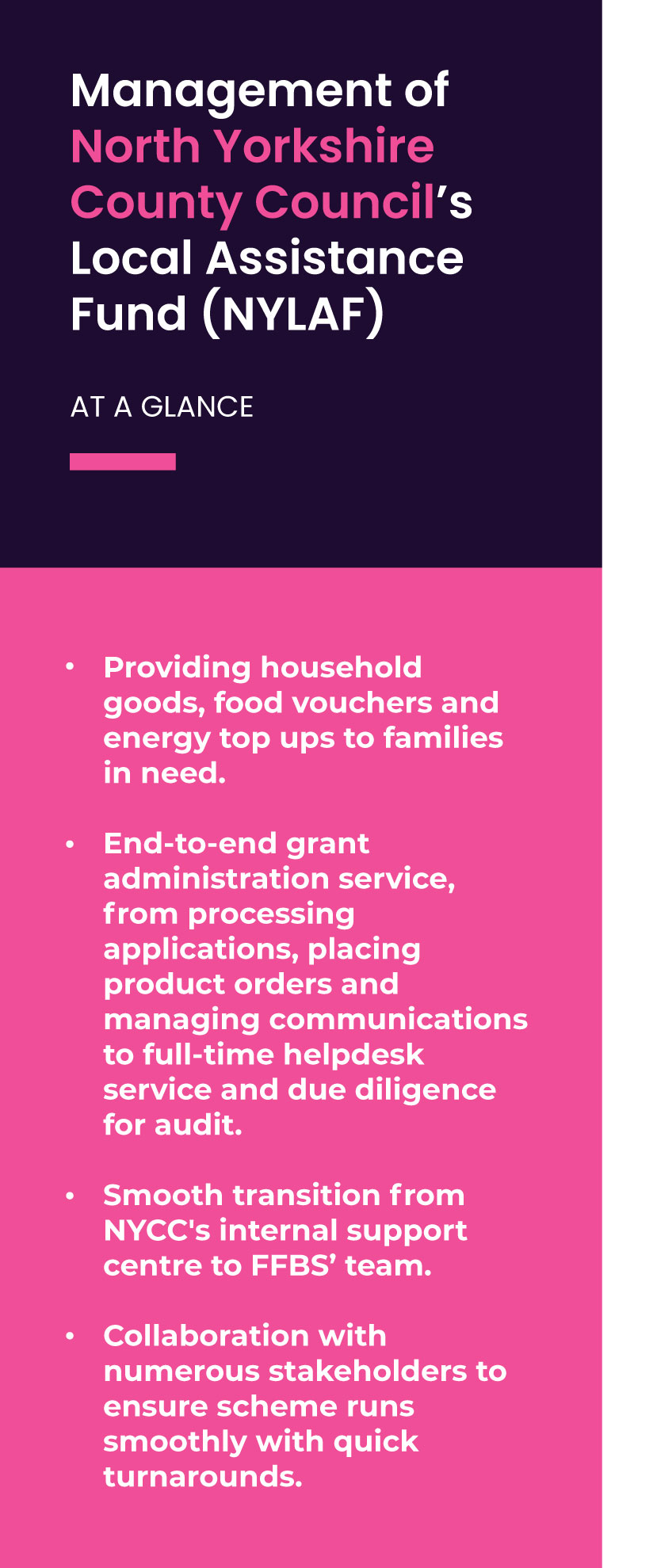 Management of North Yorkshire County Council's Local Assistance Fund (NYLAF)  Providing household goods, food vouchers and energy top ups to families in need.  End-to-end grant administration service, from processing applications, placing product orders and managing communications to full-time helpdesk service and due diligence for audit.  Smooth transition from NYCC's internal support centre to FFBS' team.  Collaboration with numerous stakeholders to ensure scheme runs smoothly with quick turnarounds.