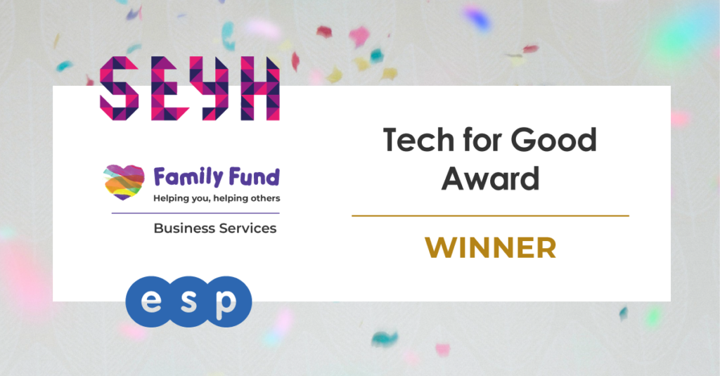 """A banner using SYH, FFBS and ESP's logos with the text """"Tech for Good Award Winner"""""""